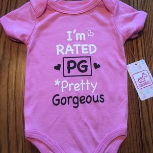 🍼BNWT Baby Girl's Onesie Rated PG Pretty Gorgeous
